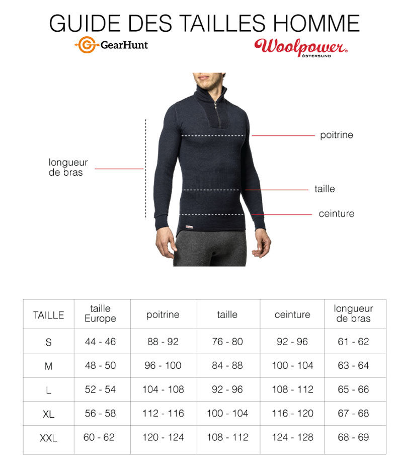 Guide des tailles Jacket Woolpower
